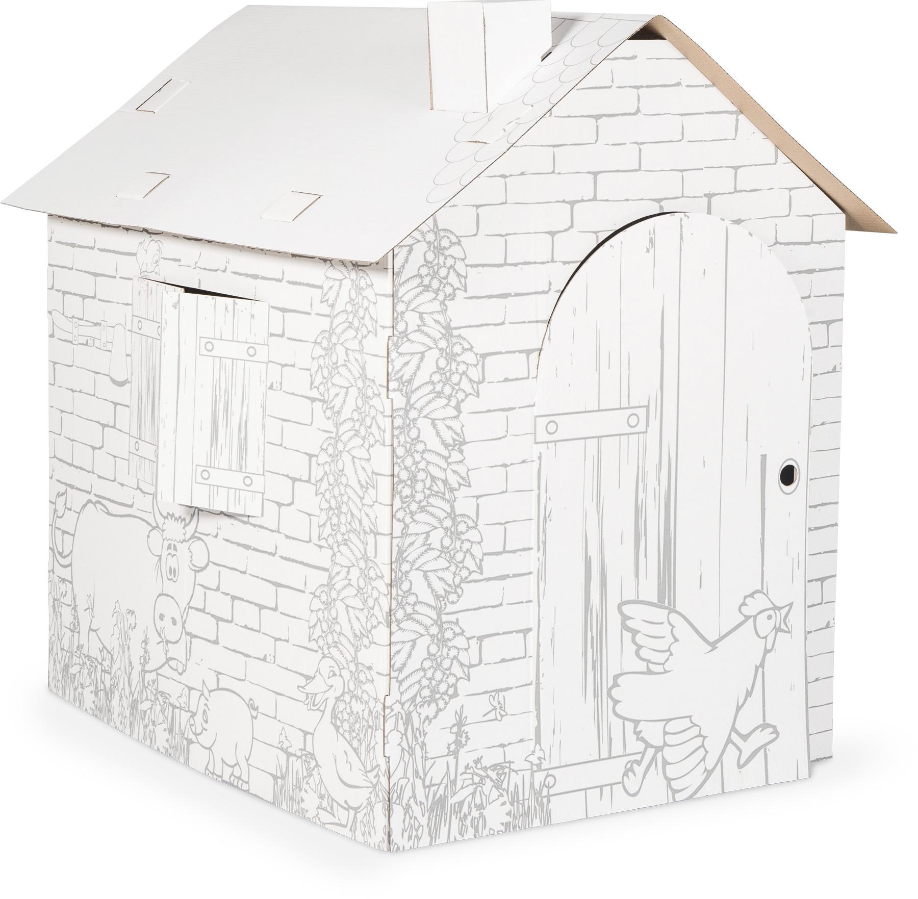 Maison de jeu à colorier en carton Cabane