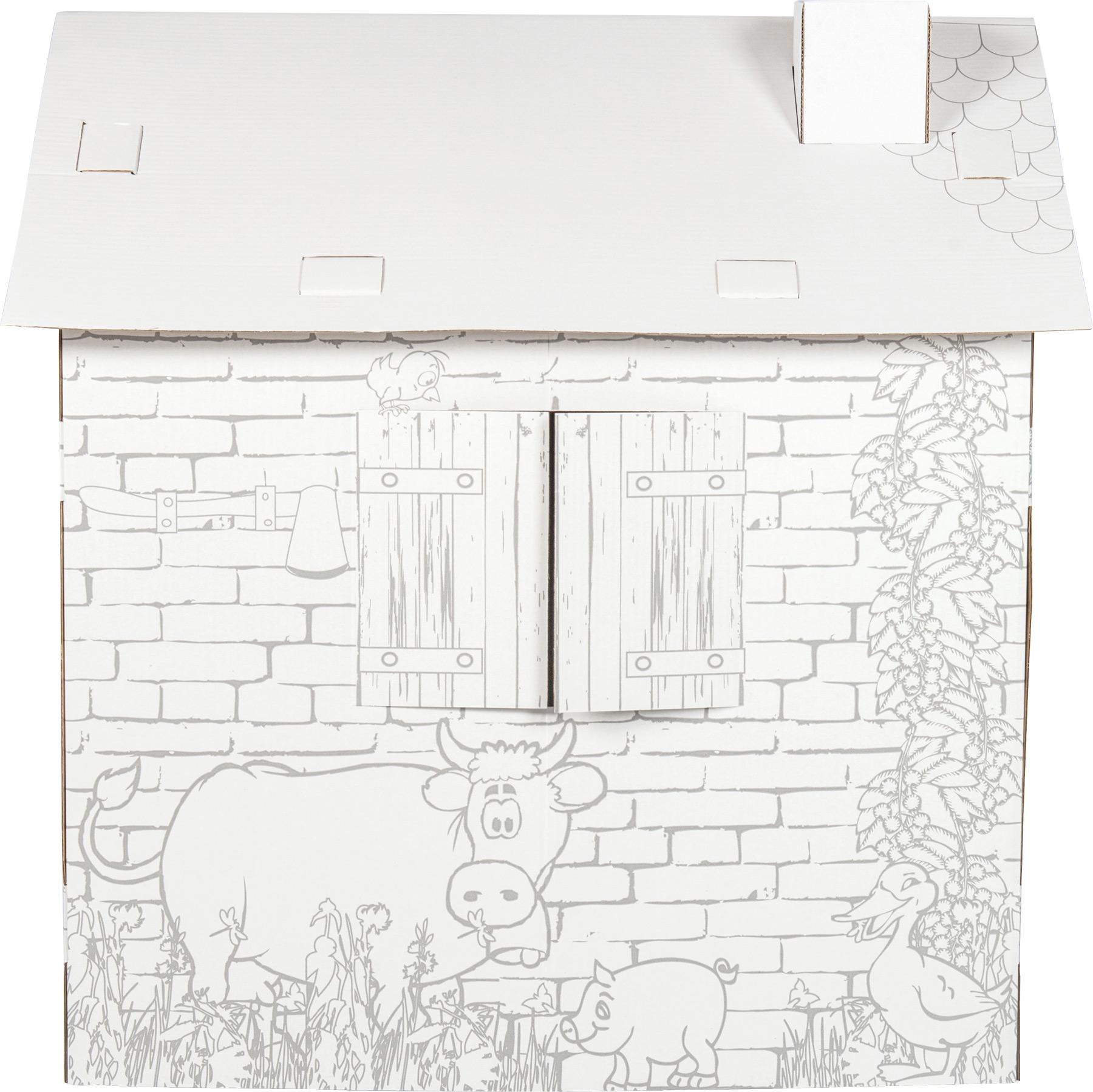 Maison de jeu colorier en carton cabane for Maison en carton a colorier