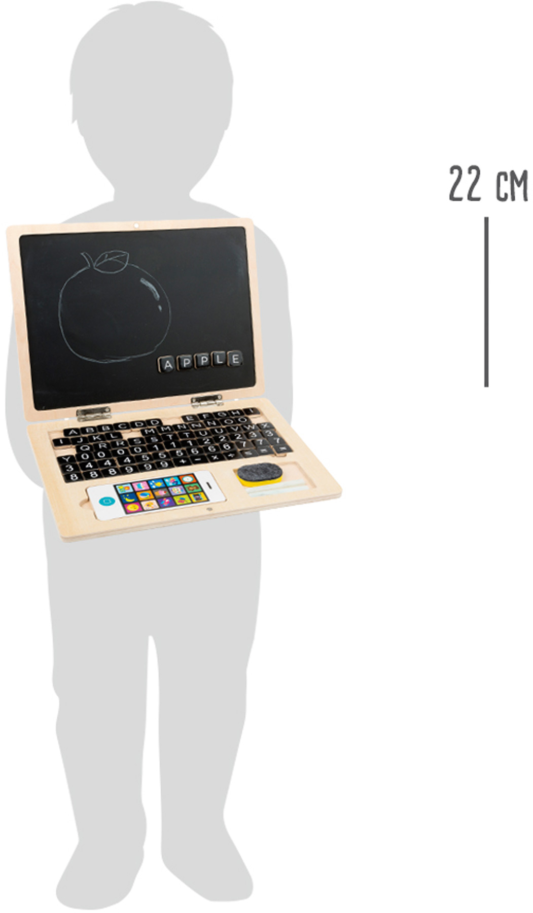 holz laptop mit magnet tafel lerntafeln basteln und malen produkte. Black Bedroom Furniture Sets. Home Design Ideas