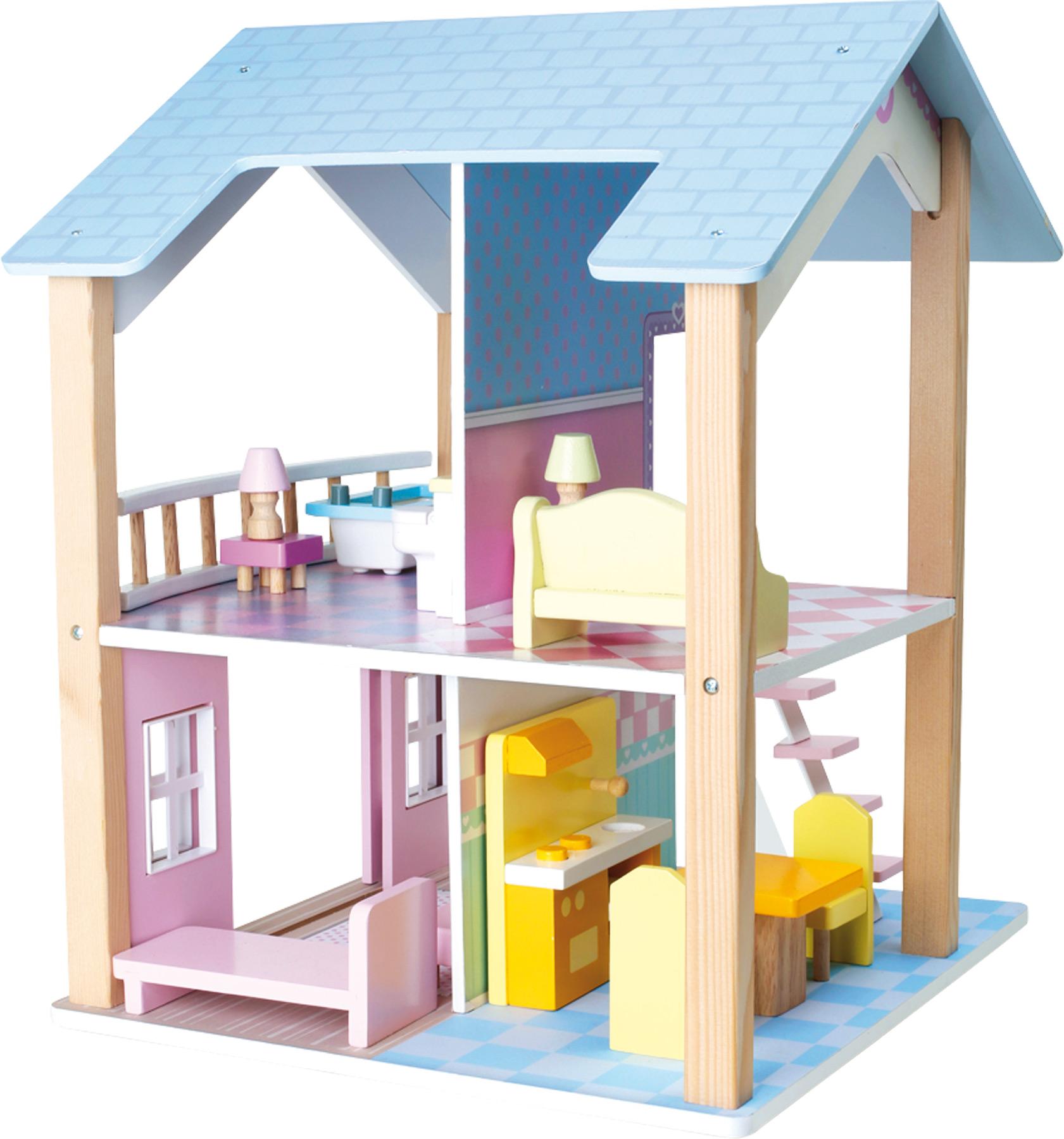 Casa delle bambole tetto blu due piani girevole for Piani casa com
