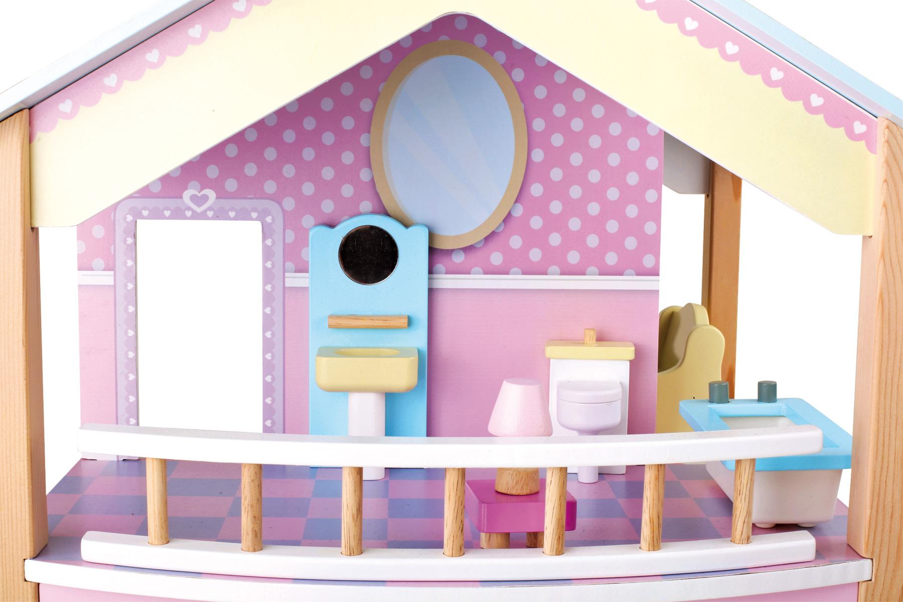 Casa delle bambole tetto blu due piani girevole for 1800 piani di casa sf
