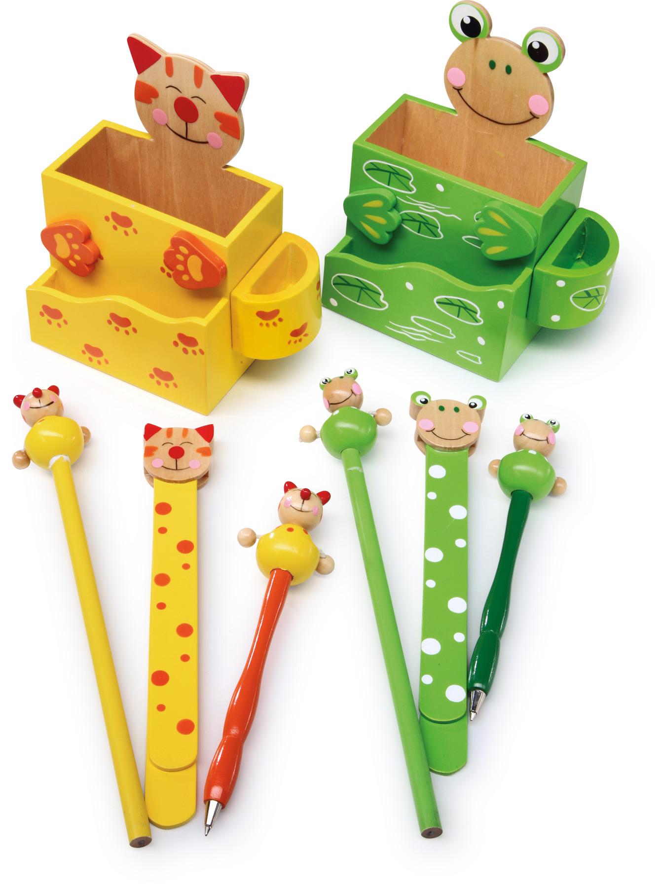 Boîte à crayons Chat et grenouille