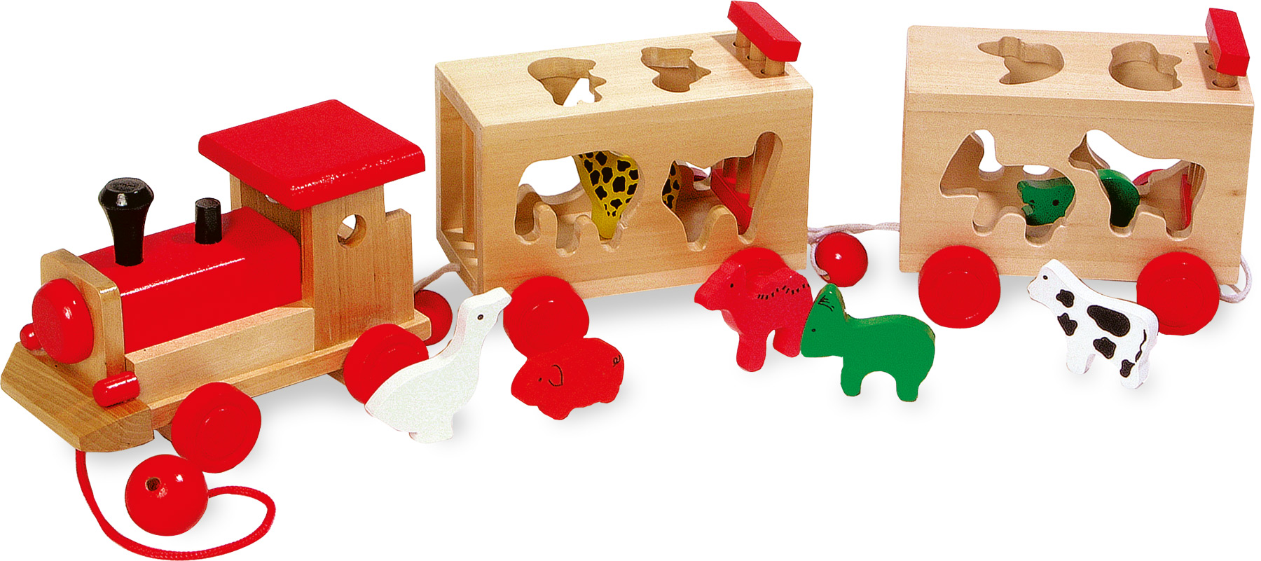 Train en bois avec animaux à encastrer