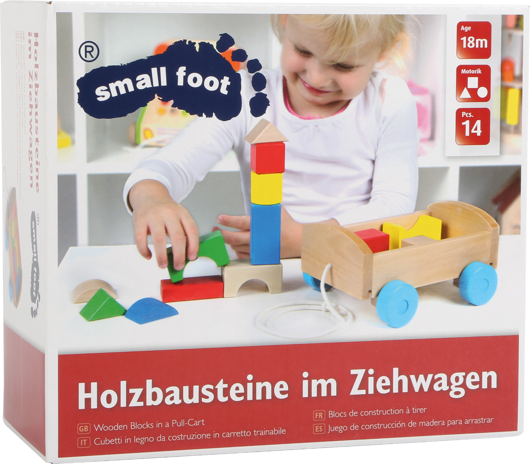 Wooden Blocks in a Pull Cart Building Blocks Toys for Toddlers